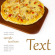 Appetizing pizza on a wooden board - 图库照片
