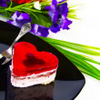 Cake in the shape of red heart - Stock fotografie