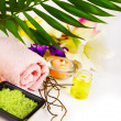 Spa setting with candle, salt and palm branch. — Stock Photo