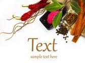 Hot spices (pepper, horseradish, bay leaf) — Stock Photo