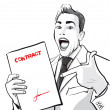 Happy man with a signed contract — Stock Vector