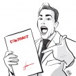 Stock Vector: Happy man with a signed contract