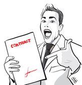šťastný muž s podepsanou smlouvou — Stock vektor