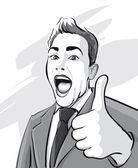 Man has reached huge success — Stock Vector