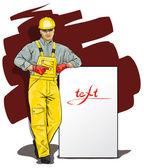 Un hombre que trabajaba en el casco y ropa protectora especial — Vector de stock