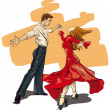 Royalty-Free Stock Vector Image: Beautiful couple in ballroom dance