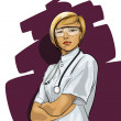 Vector de stock : Beautiful Woman Doctor (with phonendoscope)