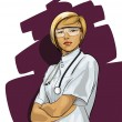 Beautiful Woman Doctor (with phonendoscope) — Vector de stock #9269226