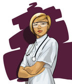 Beautiful Woman Doctor (with phonendoscope) — Stockvector