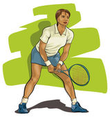 Tennis. Player with racket ready to hit a ball. — Stock Vector
