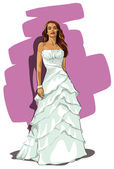 Beautiful girl in a wedding dress — Stock Vector