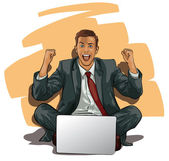A man with a computer at the moment of success — Stock Vector