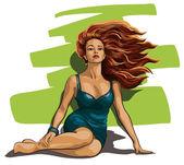 漂亮的女人和蓬松的头发 — 图库矢量图片
