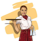 Pretty woman waitress with a tray — Stock Vector