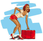 Sexy woman with a travel suitcase — Stock Vector
