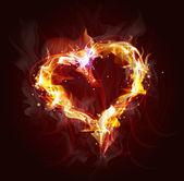 Corazón de fuego antecedentes para el diseño — Vector de stock