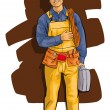 Worker, a happy man in overalls and a tool — Stockvectorbeeld