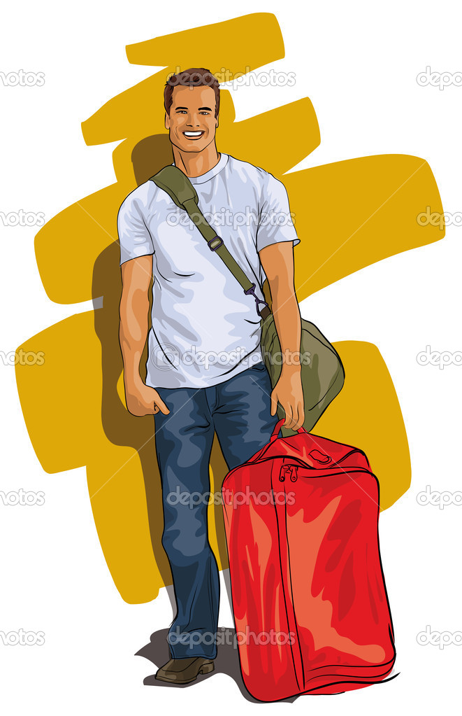 Traveler, a handsome young man with a suitcase (Vector Illustratio)  Stock Vector #9411332