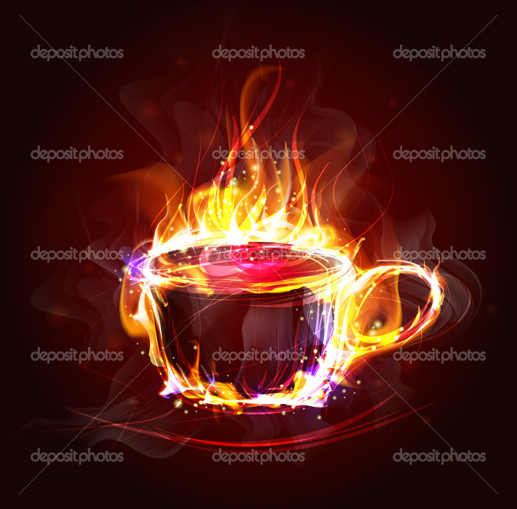 Hot cup in the flame (Vector Illustratio) — Vettoriali Stock  #9449881