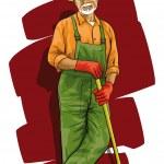 Good happy gardener with a spade in his hand — Stock Vector #9492978