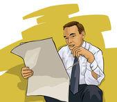 En människa som läser en tidning — Stockvektor