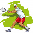 Great tennis. Athlete reflecting shock — Stock Vector