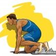 Track and field athlete at the start — Stock Vector