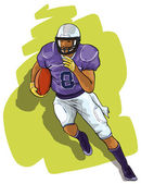 The player in college football with the ball — Stock Vector