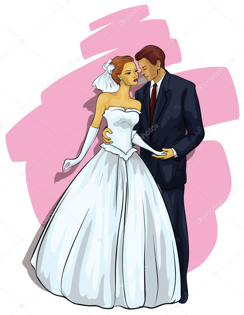 Wedding. A beautiful young couple  (Vector Illustratio)  Stock Vector #9602451
