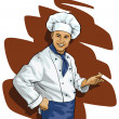 Chef invites or points — Image vectorielle
