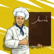 Stock Vector: Chef with menu board for