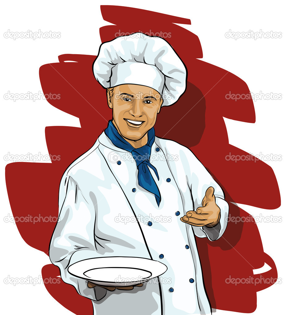 Chef with a blank plate (Vector Illustratio) — Stock Vector #9617728