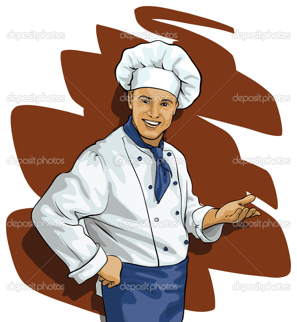 Chef invites or points (Vector Illustratio) — Stock Vector #9617735