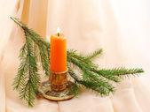 Burning candle and fir twig — Zdjęcie stockowe