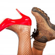Stock Photo: Opposite types of shoes
