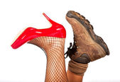 Opposite types of shoes — Stock Photo