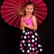 Small girl with pink umbrella — Stock Photo