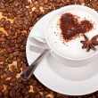 Stock Photo: Frothed coffee with heart shape and star aneceed