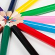 Colorful pencils in a neat circle — Stock Photo