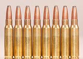 Fila recta de balas de rifle — Foto de Stock