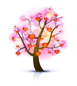Heart tree illustration — ストックベクタ