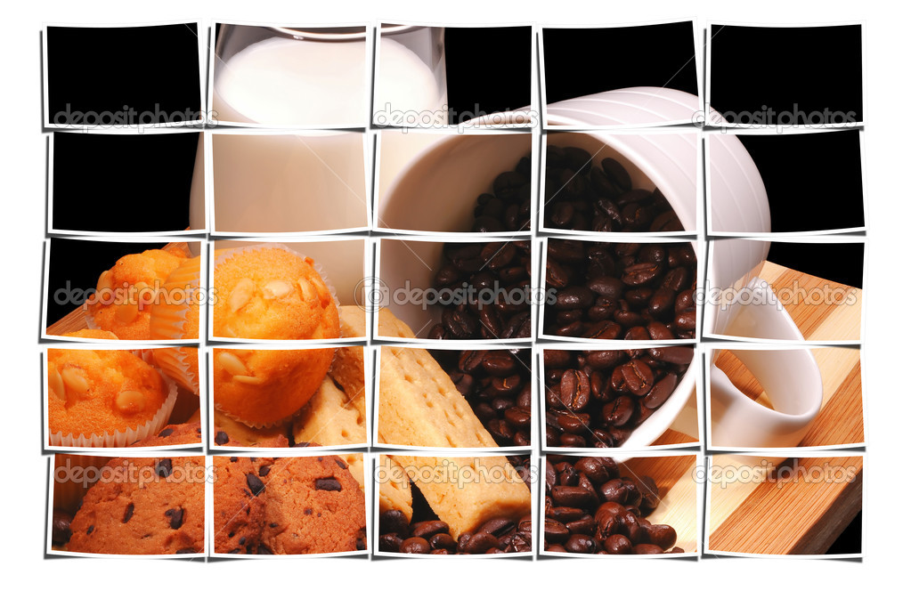 Brekfast set meal puzzle collage — Stock Photo #10500112
