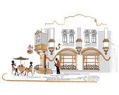 Serie de cafés en la ciudad vieja con bebiendo café — Vector de stock
