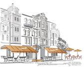 Serie de cafés en la ciudad vieja — Vector de stock