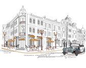 Serie de cafés en la ciudad vieja con un coche retro — Vector de stock
