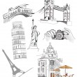 Set of world famous sights — Stock Vector