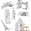 Stock Vector: Set of world famous sights