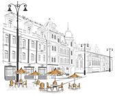 Serie de viejas calles con cafés en bocetos — Vector de stock