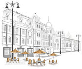 Series of old streets with cafes in sketches — Vettoriale Stock