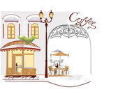 Series of old streets with cafes in sketches — Vector de stock